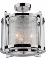 Artcraft AC10804CH Crackled Ice Chrome Flush Ceiling Light Fixture