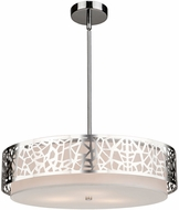 Artcraft AC11063CH Bayview Modern Chrome & White Drum Hanging Light Fixture