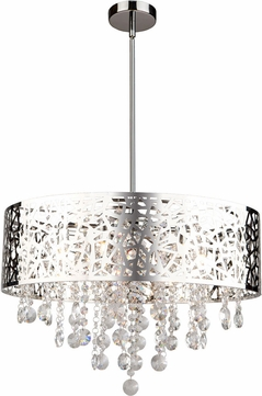 Artcraft AC11073CH Celestial Chrome Halogen Drum Ceiling Light Pendant