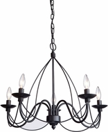 Artcraft AC1485EB Wrought Iron Ebony Black Mini Hanging Chandelier