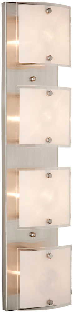 Halogen Bathroom Wall Sconces : Artcraft AC3334 Brentwood Modern Brushed Nickel Halogen 4-Light Bathroom Wall Sconce - ART-AC3334