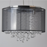 Avenue Lighting HF1504-BLK Riverside Dr. Black Organza Silk Finish 16.5  Wide Halogen Drum Drop Lighting Fixture