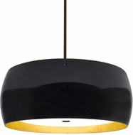 Besa 1KT-POGOGF-LED-BR Pogo Contemporary Bronze Black/Inner Gold Foil LED Pendant Hanging Light