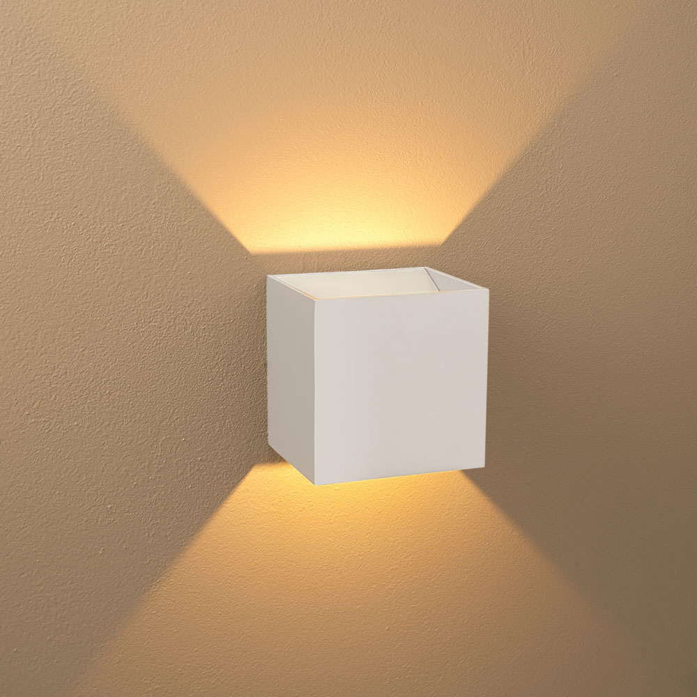 Modern Led Wall Lamps : Bruck 103040WH-WH-3 QB Modern White Exterior / White Interior LED Wall Lighting - BRU-103040WH-WH-3