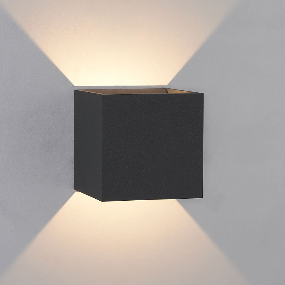 Bruck 105040bk qb contemporary black led outdoor wall light sconce bru 105040bk for Contemporary exterior wall lights