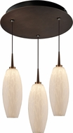 Bruck 240010BZ-3-ELV-223119BZ Ciro Contemporary Bronze / White LED Multi Hanging Pendant Lighting