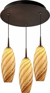 Bruck 240010BZ-3-ELV-223120BZ Ciro Contemporary Bronze / Sea Shell LED Multi Drop Lighting