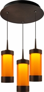 Bruck 240010BZ-3-ELV-223711BZ Silva Contemporary Bronze / Orange LED Multi Ceiling Light Pendant
