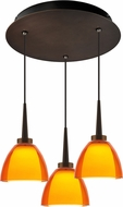 Bruck 240010BZ-3-ELV-223721BZ Rainbow Contemporary Bronze / Orange LED Multi Drop Lighting