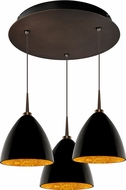 Bruck 240010BZ-3-ELV-223732BZ Cleo Contemporary Bronze / Black Outer/Gold Inner LED Multi Pendant Hanging Light