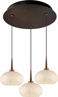 Bruck 240010BZ-3-ELV-223810BZ Laguna Contemporary Bronze / White LED Multi Ceiling Light Pendant