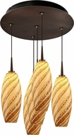 Bruck 240010BZ-5-ELV-223120BZ Ciro Modern Bronze / Sea Shell LED Multi Drop Ceiling Lighting
