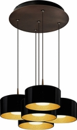 Bruck 240010BZ-5-ELV-223501BZ Cantara Modern Bronze / Black Outer/Gold Inner LED Multi Hanging Light Fixture