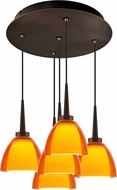Bruck 240010BZ-5-ELV-223721BZ Rainbow Modern Bronze / Orange LED Multi Drop Ceiling Lighting
