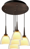 Bruck 240010BZ-5-ELV-223722BZ Rainbow Modern Bronze / Smoky LED Multi Drop Lighting Fixture