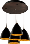 Bruck 240010BZ-5-ELV-223732BZ Cleo Modern Bronze / Black Outer/Gold Inner LED Multi Hanging Light Fixture