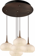 Bruck 240010BZ-5-ELV-223810BZ Laguna Modern Bronze / White LED Multi Ceiling Pendant Light