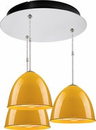Bruck 240010CH-3-ELV-110906CH Classic Contemporary Chrome / Canary Yellow Multi Ceiling Light Pendant