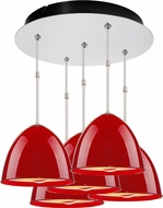 Bruck 240010CH-5-ELV-110902CH Classic Modern Chrome / Gypsy Red Multi Pendant Lighting Fixture