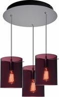 Bruck 240010MC-3-ELV-110823MC Chianti Contemporary Matte Chrome / Brown & Blue Multi Drop Ceiling Light Fixture