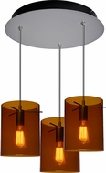 Bruck 240010MC-3-ELV-110825MC-IN London Contemporary Matte Chrome / Bourbon Multi Pendant Lighting