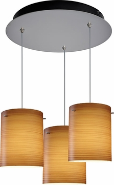 Bruck 240010MC-3-ELV-110874MC Regal Contemporary Matte Chrome / Brown Multi Drop Ceiling Light Fixture