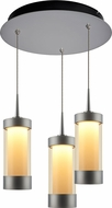 Bruck 240010MC-3-ELV-223713MC Silva Contemporary Matte Chrome / Smoky LED Multi Pendant Lighting