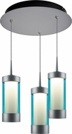 Bruck 240010MC-3-ELV-223714MC Silva Contemporary Matte Chrome / Turquoise LED Multi Hanging Lamp