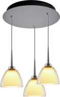 Bruck 240010MC-3-ELV-223722MC Rainbow Contemporary Matte Chrome / Smoky LED Multi Lighting Pendant