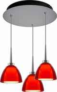 Bruck 240010MC-3-ELV-223724MC Rainbow Contemporary Matte Chrome / Red LED Multi Pendant Light Fixture