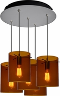 Bruck 240010MC-5-ELV-110825MC-IN London Modern Matte Chrome / Bourbon Multi Pendant Light