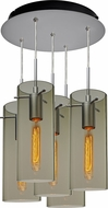 Bruck 240010MC-5-ELV-110866MC-IN Luca Modern Matte Chrome / Smoky Multi Hanging Light
