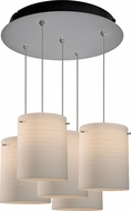Bruck 240010MC-5-ELV-110872MC Regal Modern Matte Chrome / White Multi Drop Ceiling Lighting