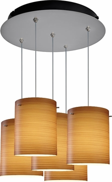 Bruck 240010MC-5-ELV-110874MC Regal Modern Matte Chrome / Brown Multi Drop Lighting Fixture