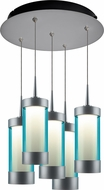 Bruck 240010MC-5-ELV-223714MC Silva Modern Matte Chrome / Turquoise LED Multi Hanging Light