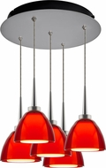 Bruck 240010MC-5-ELV-223724MC Rainbow Modern Matte Chrome / Red LED Multi Pendant Lighting Fixture