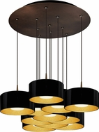 Bruck 240011BZ-11-ELV-223501BZ Cantara Modern Bronze / Black Outer/Gold Inner LED Multi Drop Ceiling Lighting