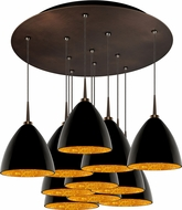 Bruck 240011BZ-11-ELV-223732BZ Cleo Modern Bronze / Black Outer/Gold Inner LED Multi Drop Ceiling Lighting