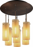 Bruck 240011BZ-7-ELV-110114BZ Sierra Contemporary Bronze / Amber Multi Lighting Pendant