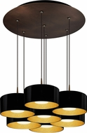 Bruck 240011BZ-7-ELV-223501BZ Cantara Contemporary Bronze / Black Outer/Gold Inner LED Multi Drop Lighting