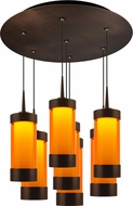 Bruck 240011BZ-7-ELV-223711BZ Silva Contemporary Bronze / Orange LED Multi Drop Ceiling Light Fixture
