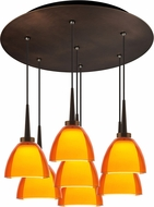 Bruck 240011BZ-7-ELV-223721BZ Rainbow Contemporary Bronze / Orange LED Multi Ceiling Light Pendant