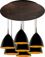Bruck 240011BZ-7-ELV-223732BZ Cleo Contemporary Bronze / Black Outer/Gold Inner LED Multi Drop Lighting