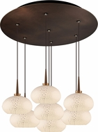 Bruck 240011BZ-7-ELV-223810BZ Laguna Contemporary Bronze / White LED Multi Drop Ceiling Light Fixture