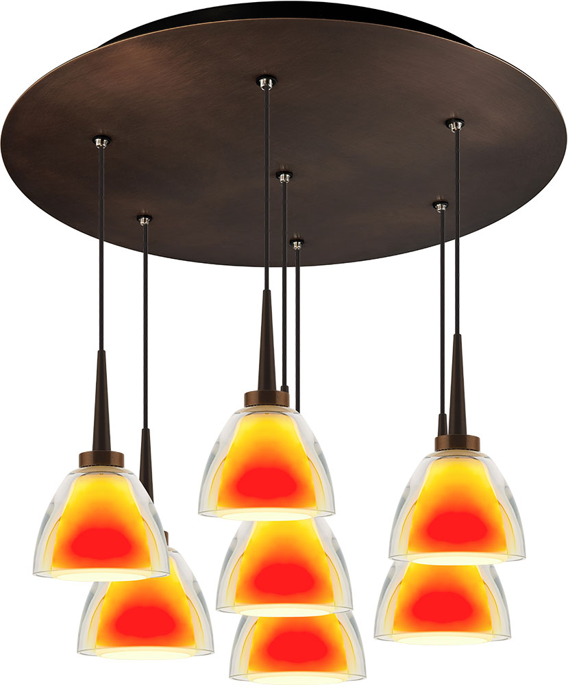 Bruck 240011BZ 7 ELV 223918BZ Rainbow Contemporary Bronze / Sunrise LED  Multi Hanging. Loading Zoom