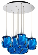 Bruck 240011CH-11-ELV-223952CH Aurora Modern Chrome / Blue LED Multi Hanging Pendant Light