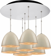 Bruck 240011CH-7-ELV-110900CH Classic Contemporary Chrome / Ivory Multi Hanging Lamp