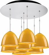 Bruck 240011CH-7-ELV-110906CH Classic Contemporary Chrome / Canary Yellow Multi Drop Ceiling Light Fixture