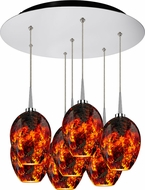 Bruck 240011CH-7-ELV-223337CH Bolero Contemporary Chrome / Autumn Leaf LED Multi Pendant Lighting