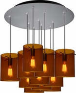 Bruck 240011MC-11-ELV-110825MC-IN London Modern Matte Chrome / Bourbon Multi Pendant Lamp